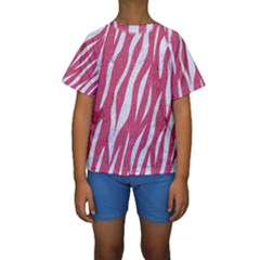 SKIN3 WHITE MARBLE & PINK DENIM Kids  Short Sleeve Swimwear