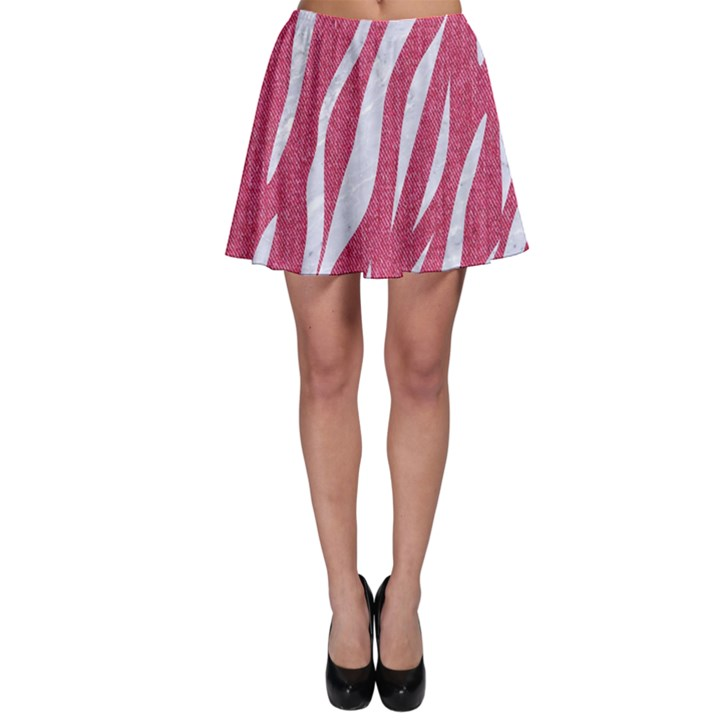 SKIN3 WHITE MARBLE & PINK DENIM Skater Skirt