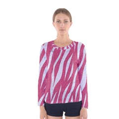 Skin3 White Marble & Pink Denim Women s Long Sleeve Tee