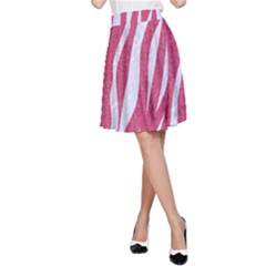 SKIN3 WHITE MARBLE & PINK DENIM A-Line Skirt