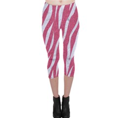 SKIN3 WHITE MARBLE & PINK DENIM Capri Leggings