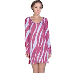 SKIN3 WHITE MARBLE & PINK DENIM Long Sleeve Nightdress