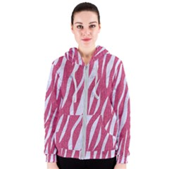 Skin3 White Marble & Pink Denim Women s Zipper Hoodie