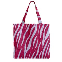 SKIN3 WHITE MARBLE & PINK DENIM Zipper Grocery Tote Bag