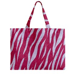SKIN3 WHITE MARBLE & PINK DENIM Zipper Mini Tote Bag