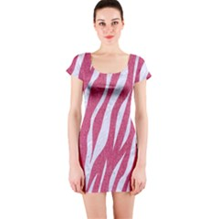 SKIN3 WHITE MARBLE & PINK DENIM Short Sleeve Bodycon Dress