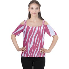SKIN3 WHITE MARBLE & PINK DENIM Cutout Shoulder Tee