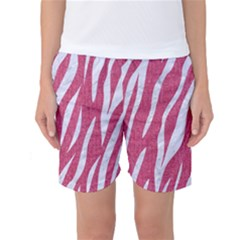 SKIN3 WHITE MARBLE & PINK DENIM Women s Basketball Shorts