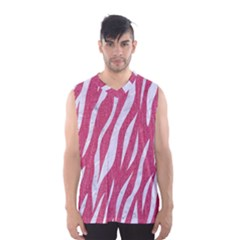 SKIN3 WHITE MARBLE & PINK DENIM Men s Basketball Tank Top