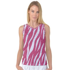 SKIN3 WHITE MARBLE & PINK DENIM Women s Basketball Tank Top