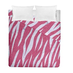 SKIN3 WHITE MARBLE & PINK DENIM Duvet Cover Double Side (Full/ Double Size)