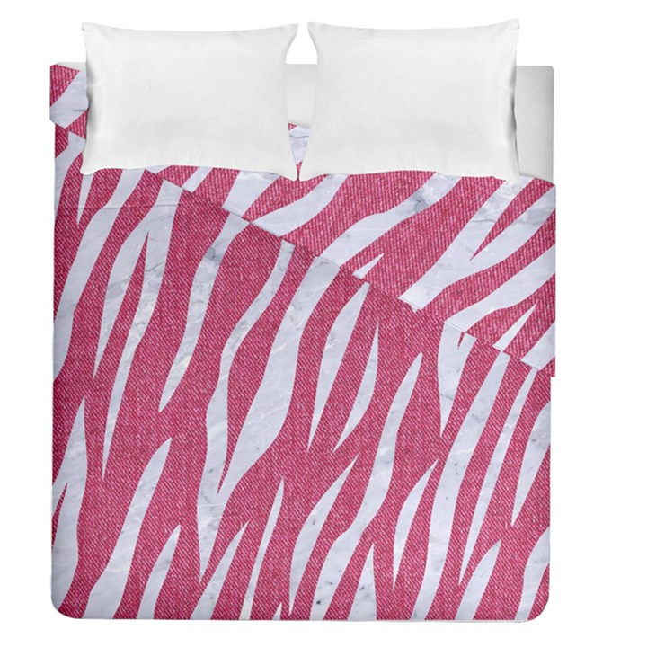SKIN3 WHITE MARBLE & PINK DENIM Duvet Cover Double Side (Queen Size)