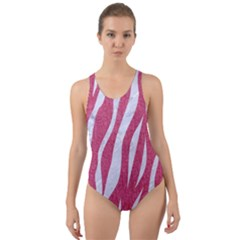 SKIN3 WHITE MARBLE & PINK DENIM Cut-Out Back One Piece Swimsuit