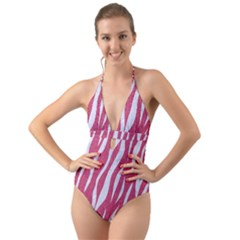 SKIN3 WHITE MARBLE & PINK DENIM Halter Cut-Out One Piece Swimsuit