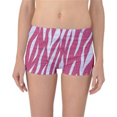 SKIN3 WHITE MARBLE & PINK DENIM Reversible Boyleg Bikini Bottoms
