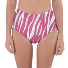 SKIN3 WHITE MARBLE & PINK DENIM Reversible High-Waist Bikini Bottoms