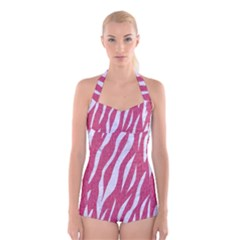 SKIN3 WHITE MARBLE & PINK DENIM Boyleg Halter Swimsuit