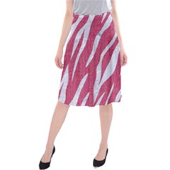 SKIN3 WHITE MARBLE & PINK DENIM Midi Beach Skirt
