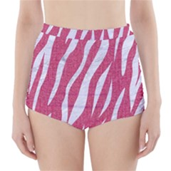 SKIN3 WHITE MARBLE & PINK DENIM High-Waisted Bikini Bottoms