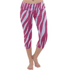 SKIN3 WHITE MARBLE & PINK DENIM Capri Yoga Leggings