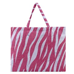 SKIN3 WHITE MARBLE & PINK DENIM Zipper Large Tote Bag