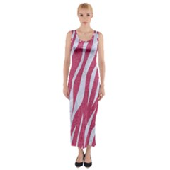 SKIN3 WHITE MARBLE & PINK DENIM Fitted Maxi Dress