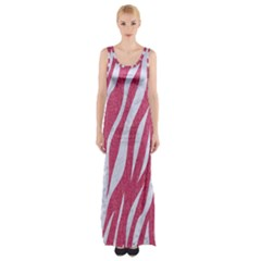 SKIN3 WHITE MARBLE & PINK DENIM Maxi Thigh Split Dress