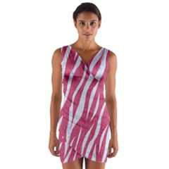 SKIN3 WHITE MARBLE & PINK DENIM Wrap Front Bodycon Dress