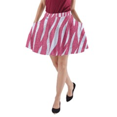 SKIN3 WHITE MARBLE & PINK DENIM A-Line Pocket Skirt