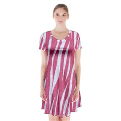 SKIN3 WHITE MARBLE & PINK DENIM Short Sleeve V-neck Flare Dress