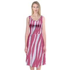SKIN3 WHITE MARBLE & PINK DENIM Midi Sleeveless Dress