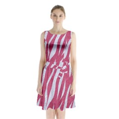 SKIN3 WHITE MARBLE & PINK DENIM Sleeveless Waist Tie Chiffon Dress