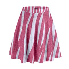 SKIN3 WHITE MARBLE & PINK DENIM High Waist Skirt