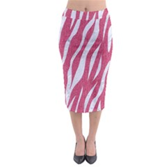 SKIN3 WHITE MARBLE & PINK DENIM Midi Pencil Skirt