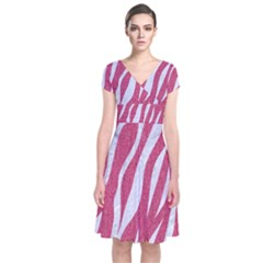 SKIN3 WHITE MARBLE & PINK DENIM Short Sleeve Front Wrap Dress