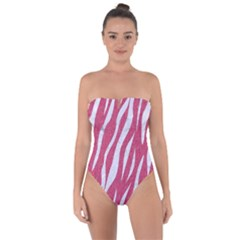 SKIN3 WHITE MARBLE & PINK DENIM Tie Back One Piece Swimsuit