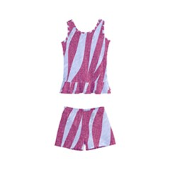 SKIN3 WHITE MARBLE & PINK DENIM Kid s Boyleg Swimsuit