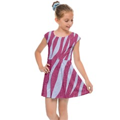 SKIN3 WHITE MARBLE & PINK DENIM Kids Cap Sleeve Dress