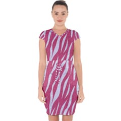 SKIN3 WHITE MARBLE & PINK DENIM Capsleeve Drawstring Dress