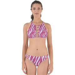 SKIN3 WHITE MARBLE & PINK DENIM Perfectly Cut Out Bikini Set
