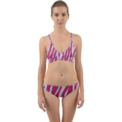 SKIN3 WHITE MARBLE & PINK DENIM Wrap Around Bikini Set
