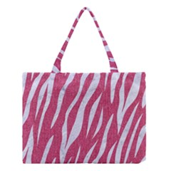 SKIN3 WHITE MARBLE & PINK DENIM Medium Tote Bag