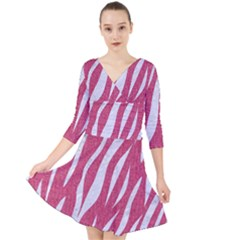 SKIN3 WHITE MARBLE & PINK DENIM Quarter Sleeve Front Wrap Dress
