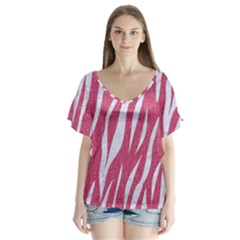 Skin3 White Marble & Pink Denim V Neck Flutter Sleeve Top