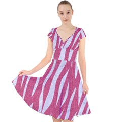 SKIN3 WHITE MARBLE & PINK DENIM Cap Sleeve Front Wrap Midi Dress