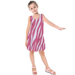 SKIN3 WHITE MARBLE & PINK DENIM Kids  Sleeveless Dress