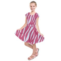 SKIN3 WHITE MARBLE & PINK DENIM Kids  Short Sleeve Dress