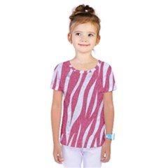 SKIN3 WHITE MARBLE & PINK DENIM Kids  One Piece Tee