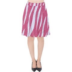 SKIN3 WHITE MARBLE & PINK DENIM Velvet High Waist Skirt