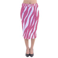 SKIN3 WHITE MARBLE & PINK DENIM Velvet Midi Pencil Skirt